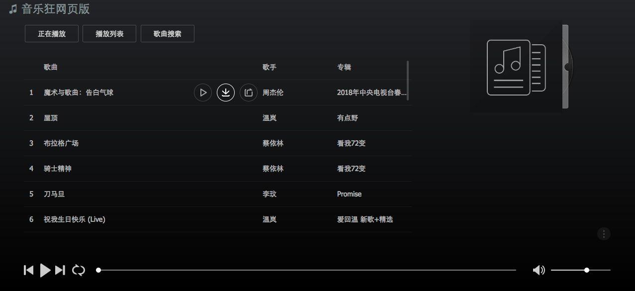 音乐狂 推荐一款网页版播放器给喜欢音乐的朋友,并且免费下载歌曲!