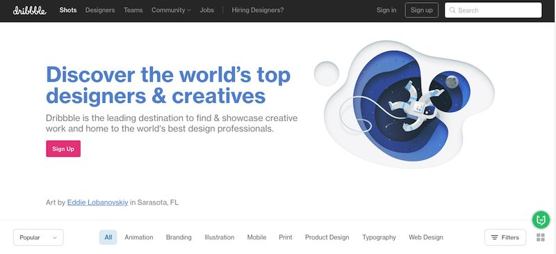 Dribbble|世界顶级设计师创意资源站