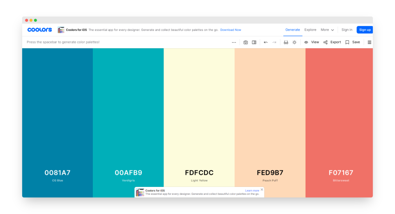 Coolors | 一键生成炫酷配色方案