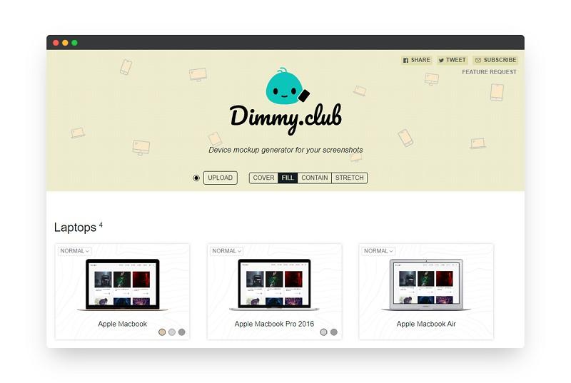Dimmy | 屏幕截图在线生成设备模型