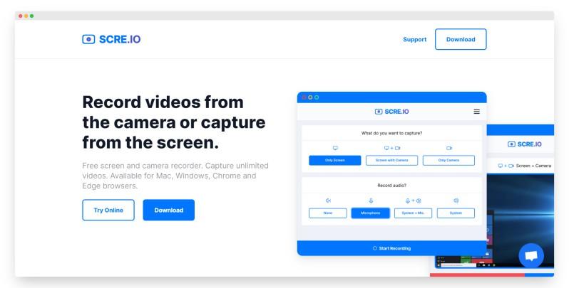 scre.io | 免费屏幕和摄像录制工具
